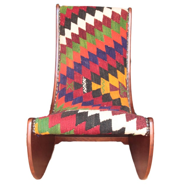 Boho Chic Wood Folding Rocking Chair For Sale - Image 10 of 10