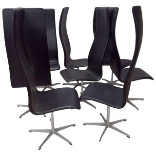 Eight Arne Jacobsen Black Leather Oxford Tall Dining Chairs