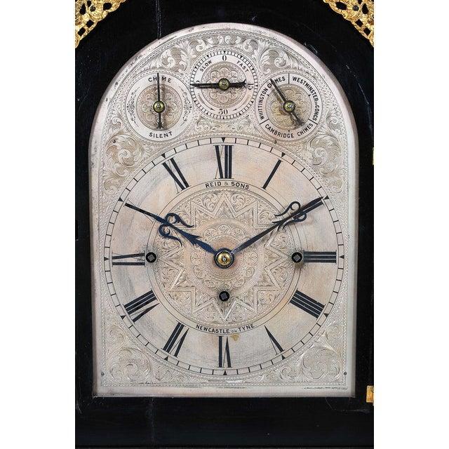 English Traditional 19th C. Reid & Sons Triple Fusee Ebony & Gilt Mantel Clock For Sale - Image 3 of 8