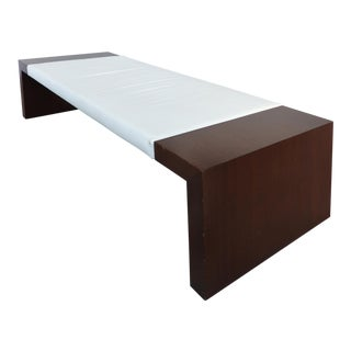 Modern Large-Scale Mahogany & Leather Bench For Sale