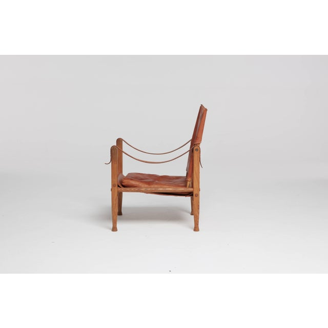 Rud Rasmussen Kaare Klint Safari Chair in Patinated Tan Leather, Rud Rasmussen, Denmark, 1960s For Sale - Image 4 of 8