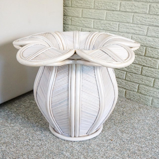 Shabby Chic Bamboo Pencil Reed Flower Shaped End Table For Sale - Image 3 of 5
