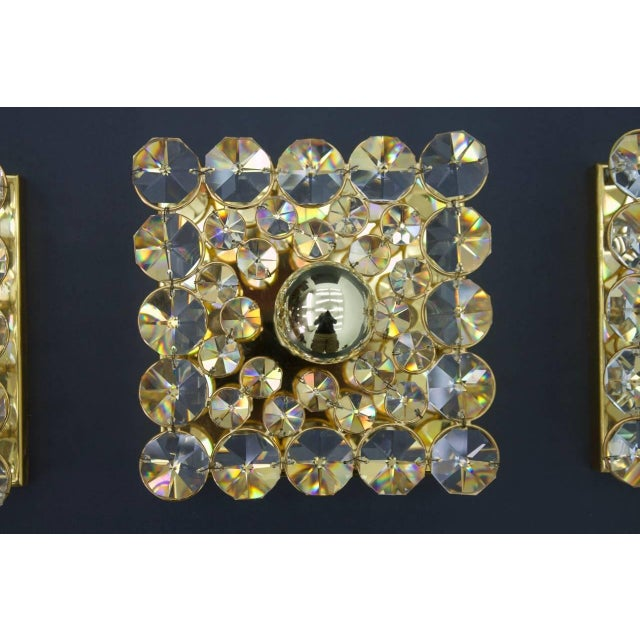 Hollywood Regency Palwa Gilded Wall Sconce With Crystal Glass Germany 1960s, Three Lights Are Available For Sale - Image 3 of 8