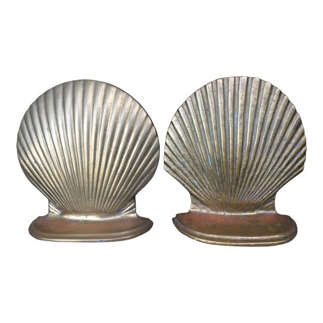 Vintage Brass Shell Bookends - A Pair - Image 1 of 7