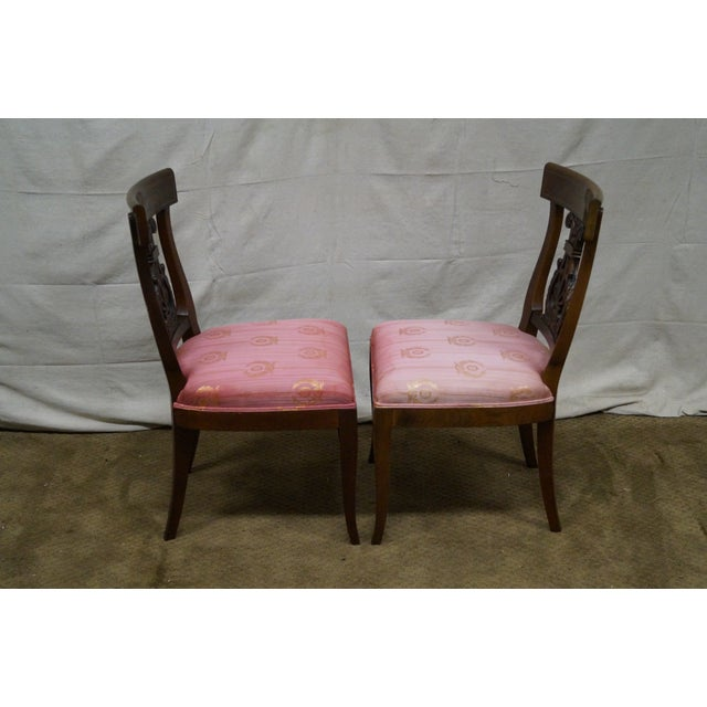 Kindel Neoclassical Mahogany Lyre Back Chairs - 4 - Image 3 of 9