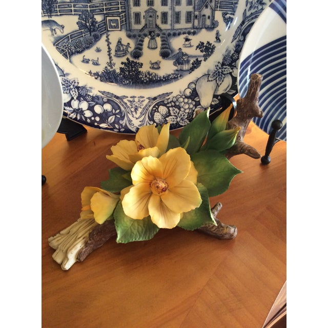 Capodimonte Vintage Capodimonte Flower in Yellow For Sale - Image 4 of 10