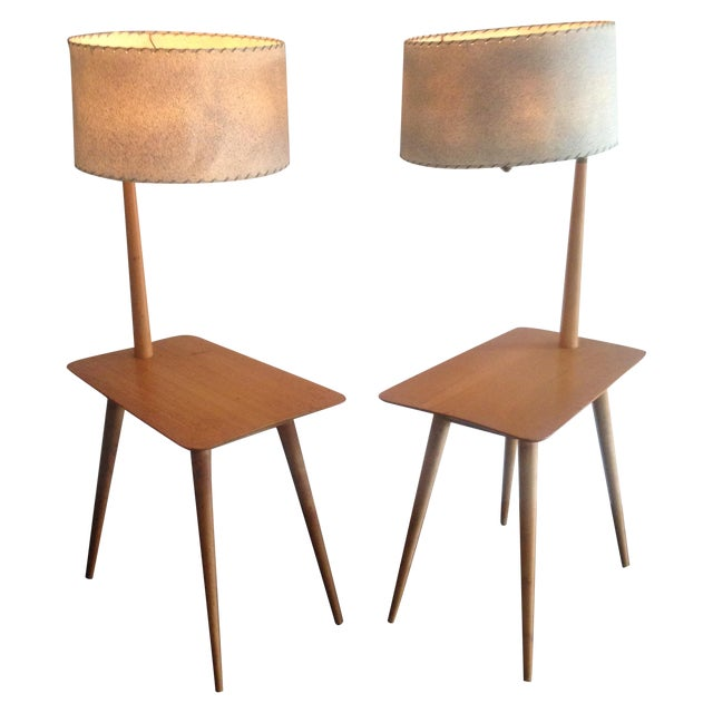 Mid-Century Maple Side Table Floor Lamps - A Pair - Image 1 of 11