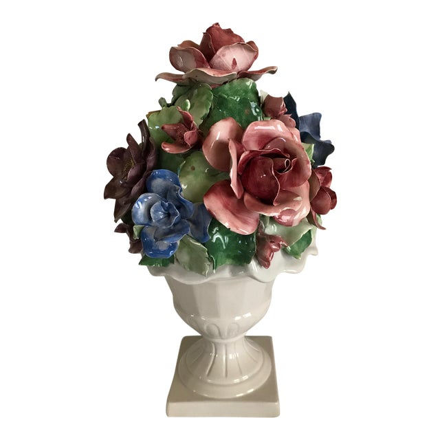 Capodimonte Style Porcelain Flower Arrangement - Image 1 of 6