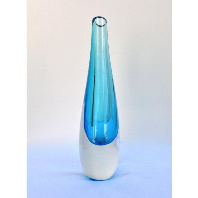 Alessandro Mandruzzato Mandruzzato Cerulean Blue & Clear Vase For Sale - Image 4 of 11