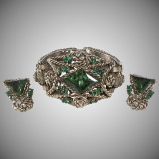 1950s Bracelet Earrings Set Chunky Green & Gold Rhinestone Wide Vintage Preview
