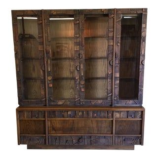 Lane Brutalist Style Lighted China Cabinet