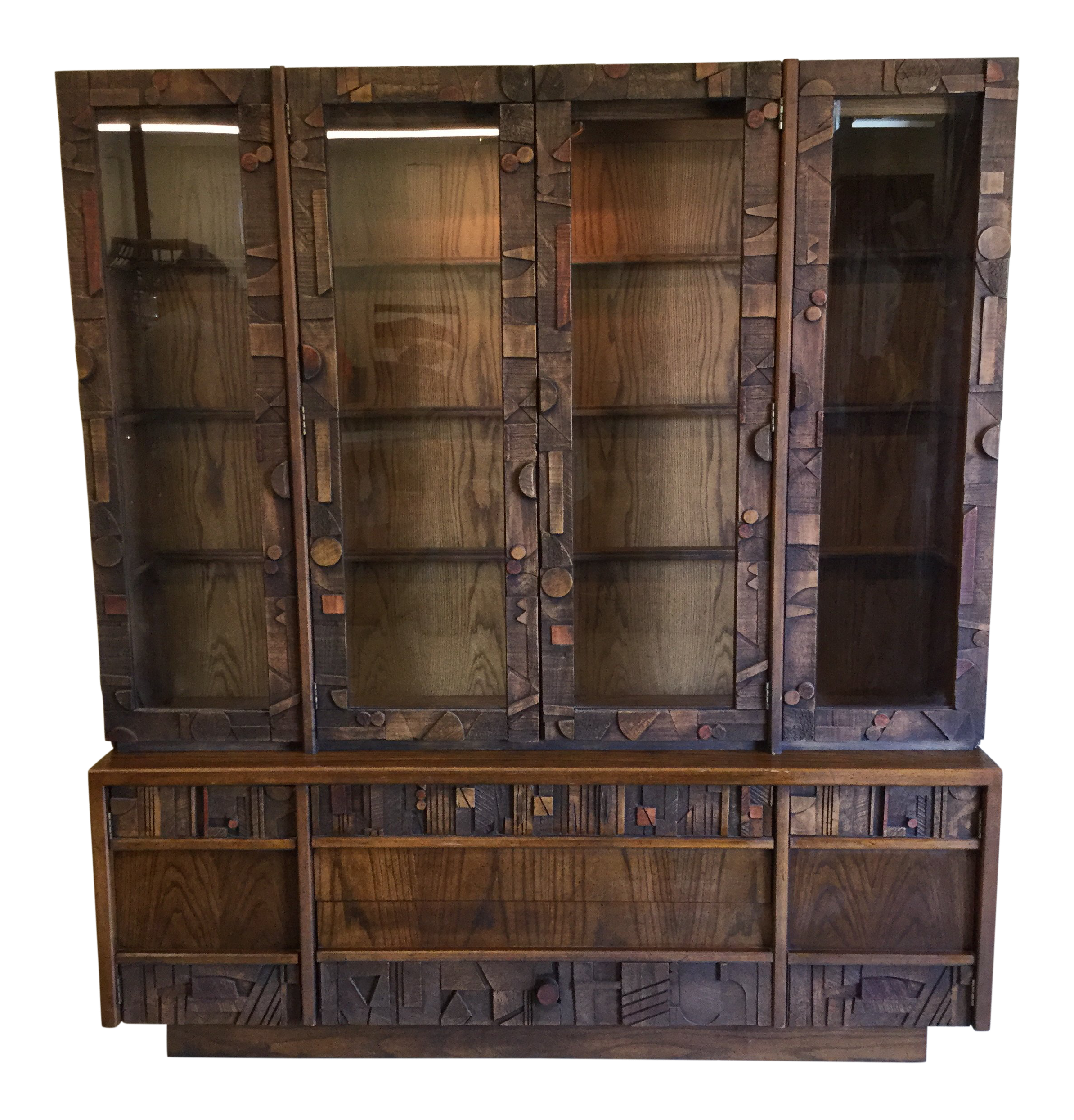 Lane Brutalist Style Lighted China Cabinet For Sale