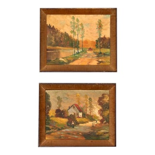 Landscape Oil Paintings - a Pair For Sale