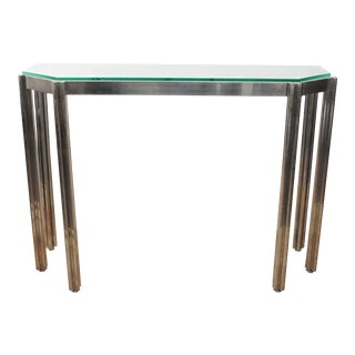 Alessandro Albrizzi Chrome Wall Console with Glass Top For Sale