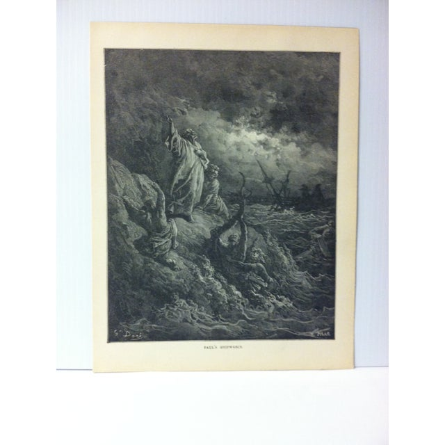 """This is Real Nice Antique Print on Paper Illustrated by Gustave Dore' that is titled """"Paul's Shipwreck"""". The Print was..."""