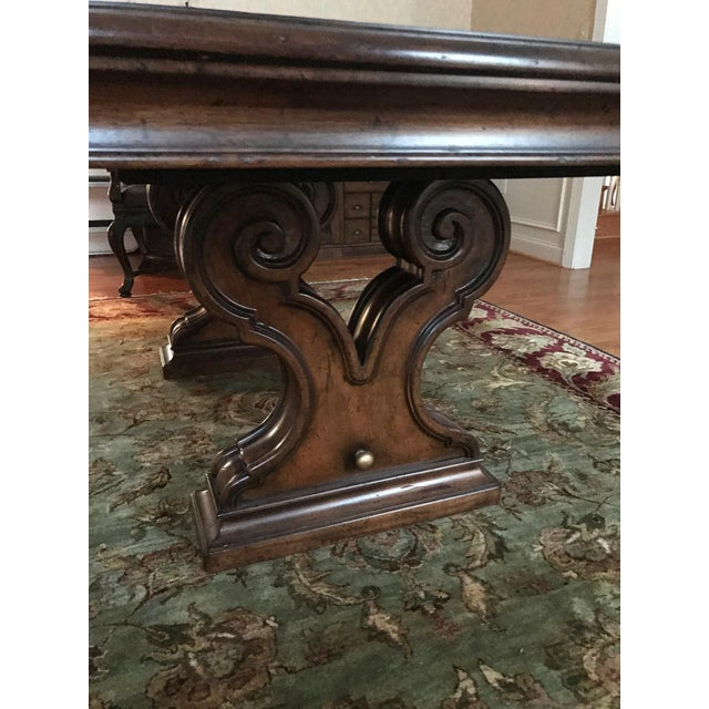 Italian Thomasville Bibbiano Trestle Dining Table and Upholstered Chairs For Sale - Image 3 of 8