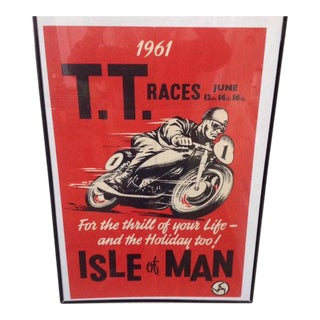 1961 Vintage Isle of Man T.T Cup Motorcycle Race Authentic Original Lithograph Poster For Sale