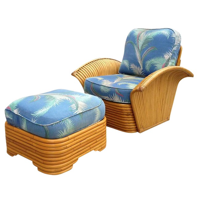 Restored Art Deco Rattan Fan Arm Lounge Chair & Ottoman For Sale