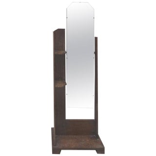 Art Deco Art's & Crafts Cerused Oak Cheval Floor Mirror For Sale