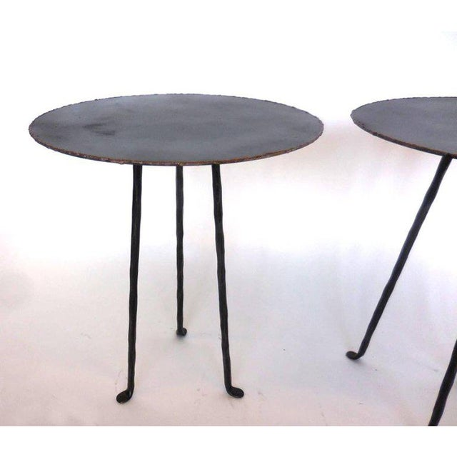 Pair of Custom Iron Tripod Tables With Bronze Edging For Sale In Los Angeles - Image 6 of 7
