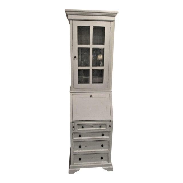 Cottage Narrow White Secretary Desk For Sale