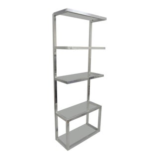 Vintage Mid Century Modern Aluminum & Glass Shelves Etagere Floating Display Shelf For Sale