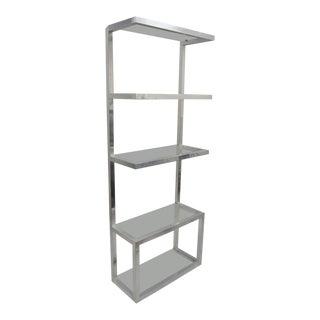 Vintage Mid Century Modern Aluminum & Glass Shelves Etagere Floating Display Shelf For Sale