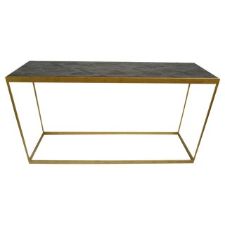Brass & Parque Wood Console Table