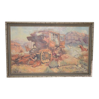 "Edward Macstay ""Under Attack"" Original Oil Painting c.1937 For Sale"