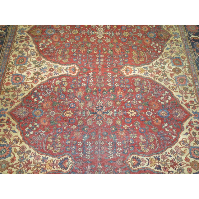 Blue Shabby Chic Persian Sultanabad Rug 9'3'' X 12'6'' For Sale - Image 8 of 9