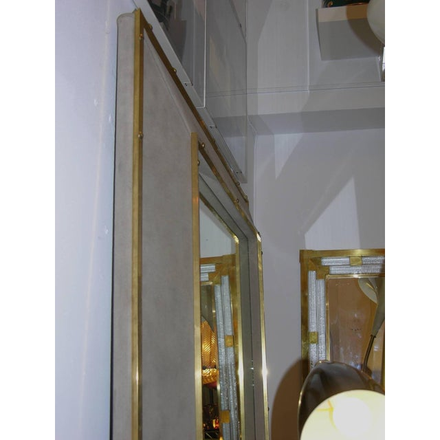 Smania 1970s Italian Suede Leather Floor Mirror With Modern Bronze Accents For Sale - Image 4 of 11
