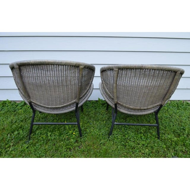 Salterini Wicker Clamshell Chairs, Pair, With Steel Frame for Home, Patio, Porch For Sale - Image 9 of 13