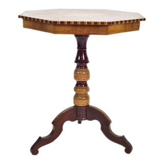 Italian Marquetry Octagonal Side Table For Sale