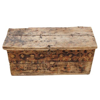 Rustic Moroccan Painted Chest Trunk For Sale