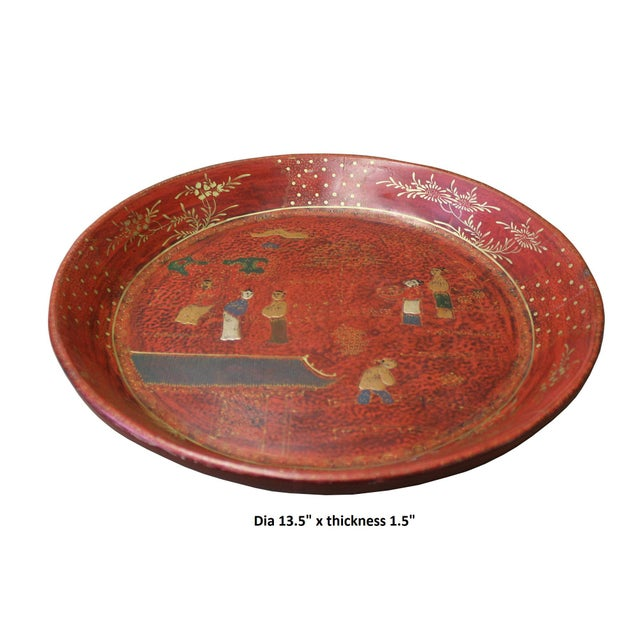 Chinese Red Lacquer Golden Scenery Round Tray Display Art For Sale In San Francisco - Image 6 of 7