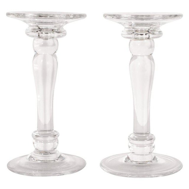 1960s Mid-Century Modern Translucent Glass Doric Column Candlesticks For Sale - Image 5 of 5