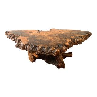 1960s Vintage Live Edge Burl California Buckeye Wood Coffee Table For Sale