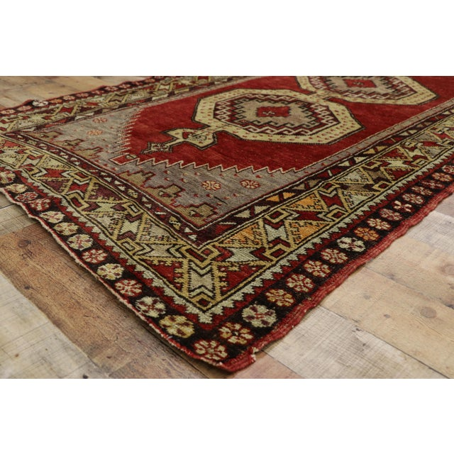 Mid 20th Century Vintage Mid-Century Turkish Oushak Runner Rug - 3′9″ × 10′8″ For Sale - Image 5 of 11
