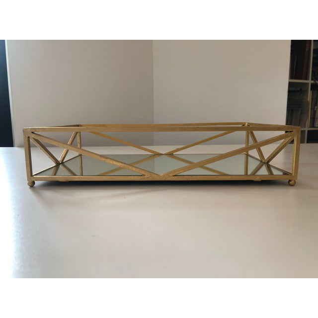 Metal Contemporary Iron Tray With Inset Mirror in Golf Leaf For Sale - Image 7 of 9