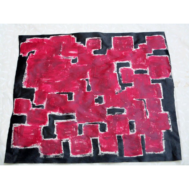 Alaina Bold Abstract Red Black Painting - Image 3 of 11