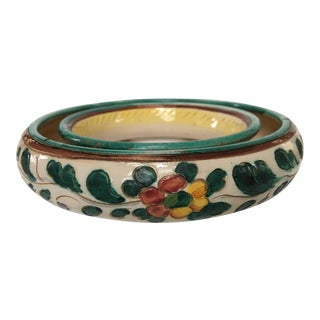 1950s Vintage Italian Hand-Painted Flower Centerpiece Ring Bowl For Sale