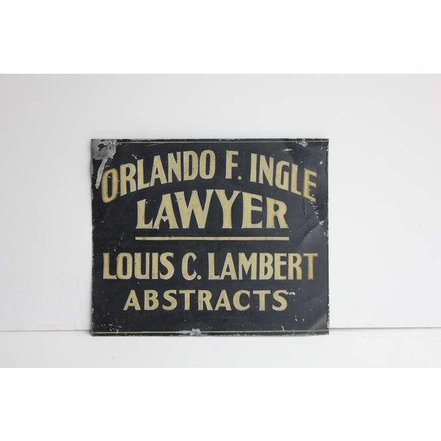 Industrial Early 20th C. Vintage Hand painted Tin Trade Sign For Sale - Image 3 of 3