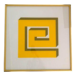 1970's Reverse Geometric Art on Glass For Sale