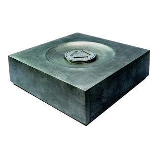 Inca Square Outdoor Fire Table, Silver For Sale