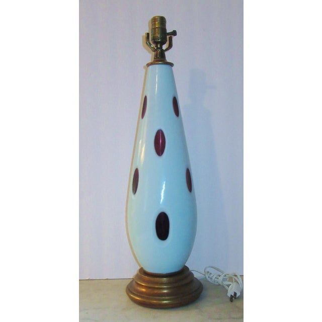 Really nice vintage Murano glass lamp.. Opaque pale blue cut to a clear amethyst purple. Nice mid century dotted design -...