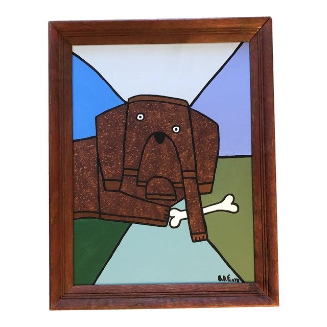 "Contemporary Folk Artist B.D.Floyd ""a Dog & His Bone"" Original Painting For Sale"