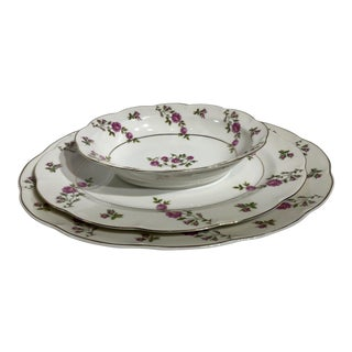 Traditional Pink Roses Delaware China by Haviland - Set of 3 Vintage English Garden Style For Sale