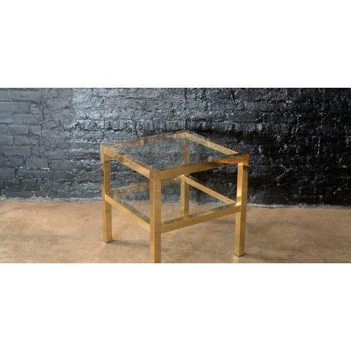 Brass Mastercraft Two Tiered Brass Side Table For Sale - Image 7 of 8