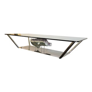 Stainless Steel and Glass Coffee Table With Large Amethyst Geode Ornament For Sale