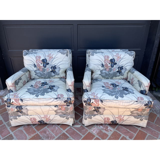 Cream 80s Designer Fabric Custom Arm Chairs For Sale - Image 8 of 8